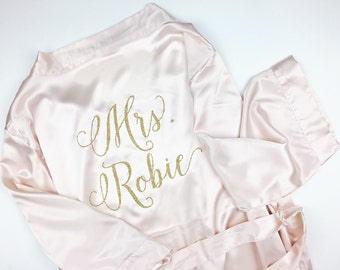 Bride Robe - Wedding Day Robe - Glitter Bridal Robe - Bride Satin  - Bridal Lingerie Shower Gift - Bridesmaid Robe -Blush Robe - rose gold