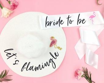 lets flamingle Hat AND bachelorette sash - Sequin Sun Hat - Custom floppy  hat- mrs hat - lets flaminge - flamingo bachelorette - bride hat 1fa39411e958