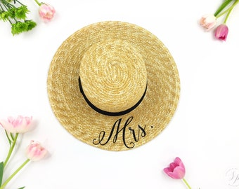 Custom Mrs Hat - Sequin Sun Hat - Bride Hat - Beach hat - Boat Hat - Boater - Bride to be hat - Beach Bride - Just Married Hat - Honeymoon