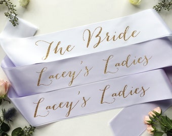 Custom Bachelorette Bridal Party Sash Pack - PACK of bridal party sash- bridesmaid sash- Bachelorette Sash - Satin Bride Sash -