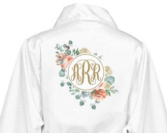 Bride Robe - Wedding Day Robe - Floral monogram Robe - Glitter Bridal Robe - Bride Satin - Bridal Lingerie Shower Gift - floral bride Robe