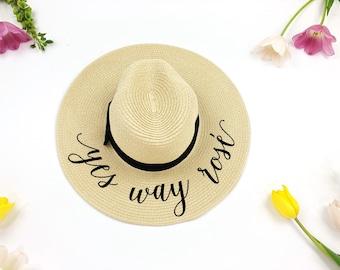 Custom Hat - Sequin Sun Hat - Bride Hat - Beach hat - Custom floppy hat - Bride to be hat - Beach Bride - Just Married Hat-Honeymoon -fedora