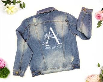 Personalized Mrs Denim Jacket, Mrs Jean Jacket, Custom Bride Jacket, Custom Denim, Mrs Jacket,Custom Jacket,Custom Denim Bride Jacket floral