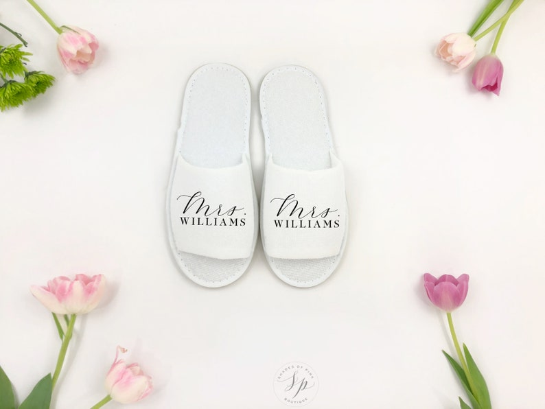 Personalized Mrs Slipper Bride slipper Bridesmaid Slipper image 0