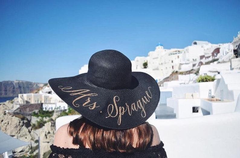 Custom Mrs Hat  Sequin Sun Hat  Bride Hat  Beach hat  image 0