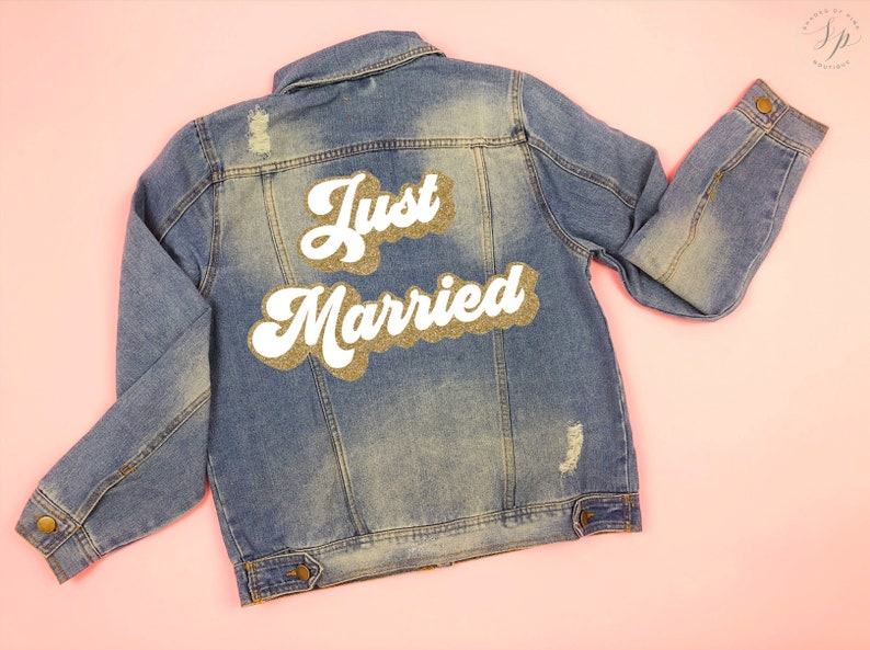 Just Married Jacket Mrs Denim Jacket Custom Bride Jacket image 0