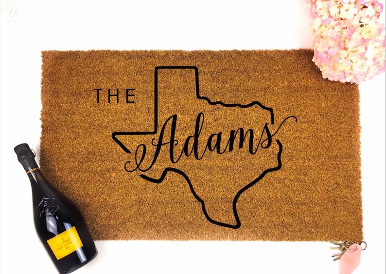 Custom Last Name Doormat  Texas gift Custom Doormat  image 0