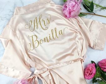 Plus Size Bride Robe - Wedding Day Robe - Glitter - Bride Satin  - Bridal Lingerie Shower Gift - Bridesmaid Robe -Blush Robe - rose gold
