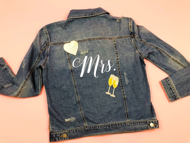 aa243c103 Personalized Mrs Denim Jacket, Mrs Jean Jacket, Custom Bride Jacket, Custom  Denim, Mrs Jacket, Custom Jacket, Custom Denim Bride Jacket