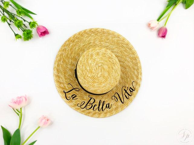 Custom boater Hat - Sequin Sun Hat - Bride Hat - Beach hat - Boat Hat - Bride to be hat - Beach Bride - Just Married Hat - Honeymoon