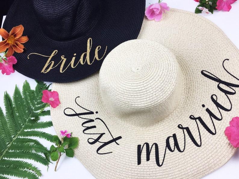 9baad0a56 Floppy Sun Hat - Sequin Sun Hat - Bride Hat - Beach hat - Custom floppy hat  - Bride to be hat - Beach Bride - Just Married Hat - Honeymoon