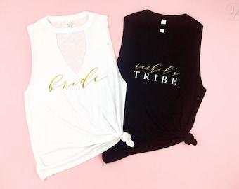 Bride shirt, tribe tee,Bachelorette Party Shirts, Bridesmaid Shirts,Bridal Party Tops,Bride Tank,Bridal Party shirts,Bachelorette Party Tank