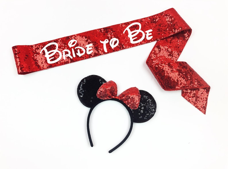 Disney Bachelorette sash  Disney ears  Disney Bride  Sequin image 0