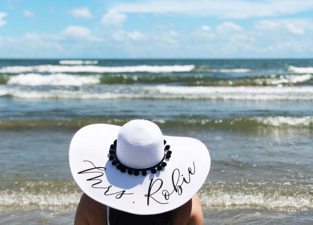 4e2504bab583b Custom Mrs Hat - Sequin Sun Hat - Bride Hat - Pom Beach hat - Custom floppy  hat - Bride to ...