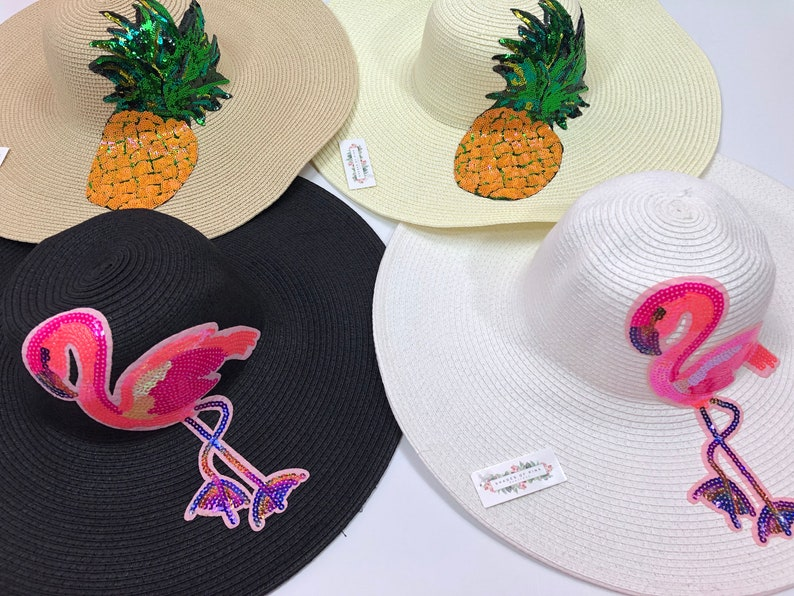 Sun Hat Floppy Beach Hat Floppy Sun Hat Custom Personalized Floppy Hat out of office hat flamingo pineapple hat lets flamingle CLEARANCE