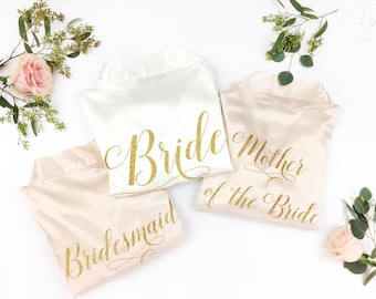 Bridal Robe Group Package - Custom Robes - Wedding Day Robe - Glitter Bridal Robe - Bride Satin - Set of Wedding Robes - Bridesmaid Robes