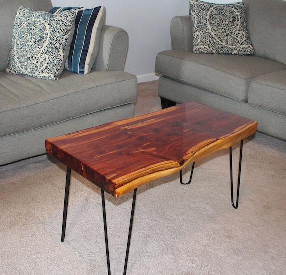 Eastern Red Cedar Slab Coffee Table Epoxy Live Edge Minimalist Living