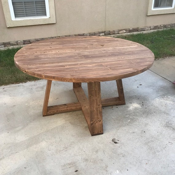 Modern Round Pedestal Dining Table, Rustic or Reclaimed 60\