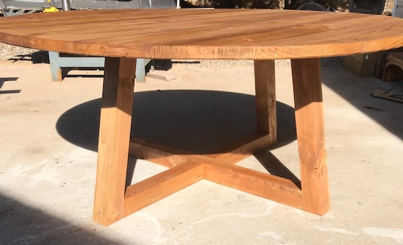 Modern Round Pedestal Dining Table Rustic 60 Or Etsy