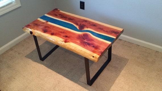 Blue River Coffee Table Epoxy Cedar Live Edge