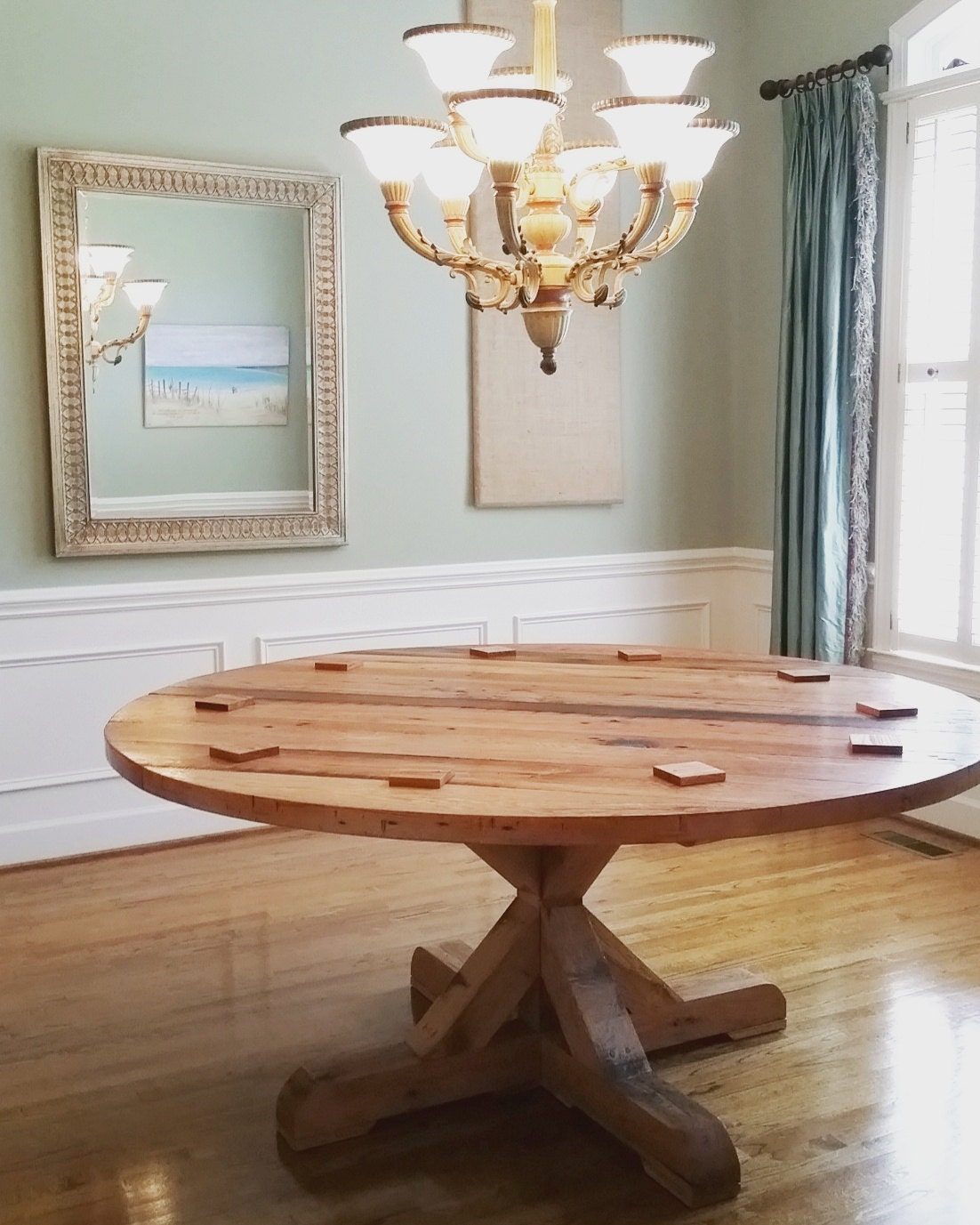 Round Solid Wood Dining Table: Round Pedestal Dining Table Solid Wood Oak Pine Rustic