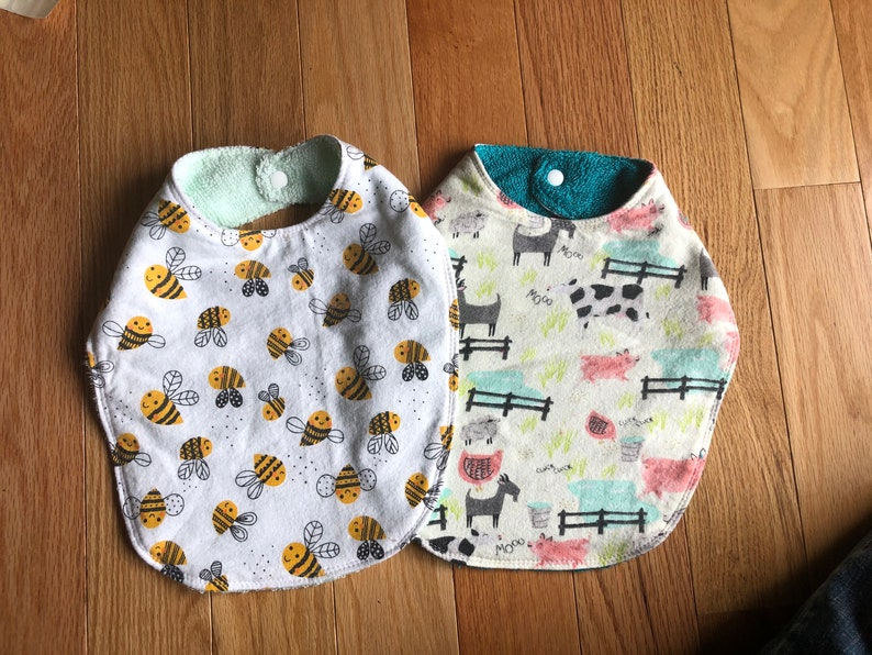 Pair of Handmade Baby Bibs