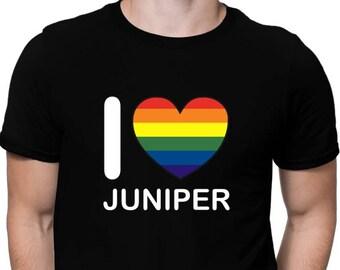 I Love Juniper Rainbow Heart T-Shirt