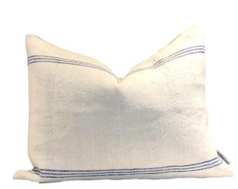 Vintage European Linen Grain Sack Pillow Cover Blue Stripe 14 x 20