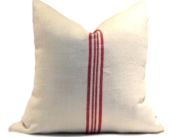 New! Vintage European Linen Grain Sack Pillow Cover  4 Red Stripes