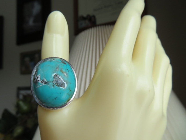 Handcrafted 28.00ctw Genuine Turquoise 925 Sterling Silver image 0