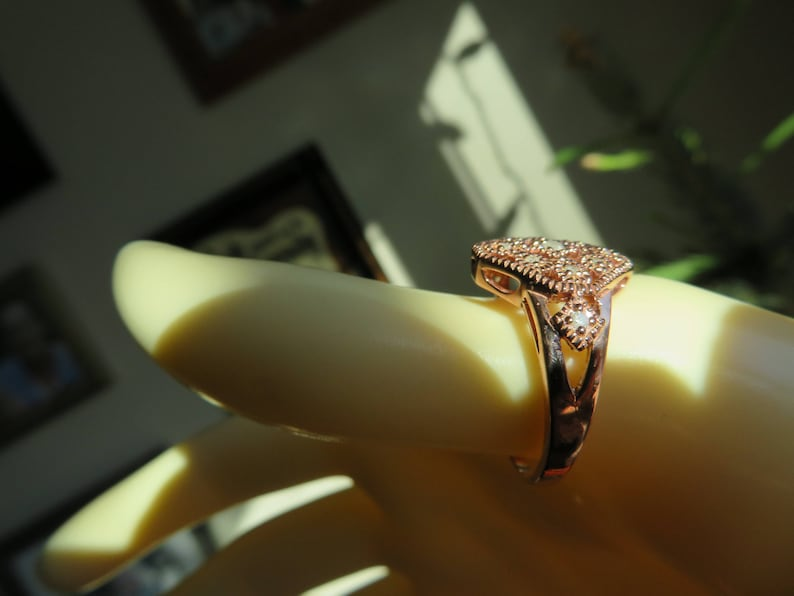 Handcrafted Genuine .12ctw Diamond 14k Rose Gold 925 Sterling Silver Statement Ring Size 8 3.5 G Wt
