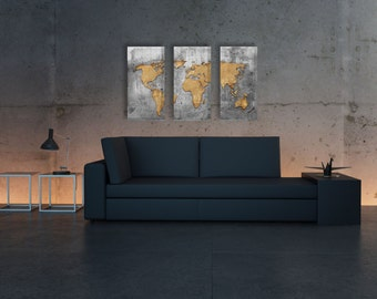 Triptych world map etsy triptych silver vintage world map panel canvas art vintage world map antique world map canvas art print set of 3 canvases pxwm14 c gumiabroncs Images