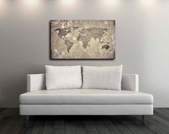 Vintage World Map Canvas Print, Wall Decor, World Map Canvas Print, World Map Art Decor, Large Wall Art, Gift Idea [PXWM08-C]
