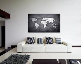 Silver Black World Map Canvas Print, Wall Decor, World Map Canvas Print, World Map Art Decor, Large Wall Art, Gift Idea [PXWM03-C]
