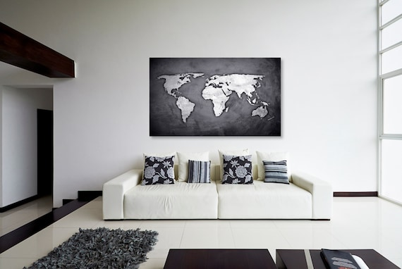 Silver Black World Map Canvas Print Wall Decor World Map | Etsy