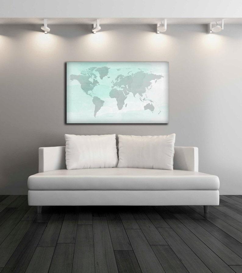 7f03d143f393 Mapa de mundo acuarela lienzo impresión decoración de la