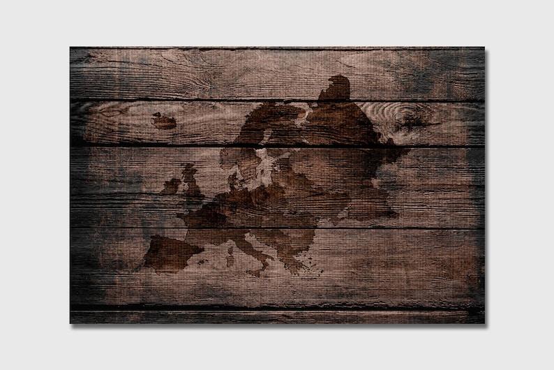 24e0aeb0b7ac Grano de madera Europa mapa país mapa Poster Print impresión
