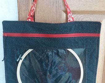 Cross Stitch Vinyl Project Bag, Large Vinyl Cross Stitch Bag with Handle, Embroidery Project Bag, Vinyl Project Bag