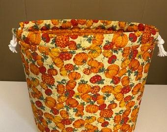 Pumpkin Fabric Bag, Knitting Project Bag, Fall Drawstring Fabric Bag, Medium Project Bag, Drawstring Bag, Fabric Gift Bag