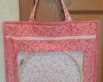 Cross Stitch Vinyl Project Bag, Vinyl Project Bag, Large Vinyl Cross Stitch Bag with Handle, Embroidery Project Bag,