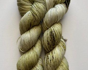 Green Speckled Indie Dyed Yarn, Hand Dyed Yarn, Speckled Yarn, Sock Yarn, Colorful Yarn, Forest Floor Yarn