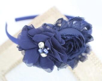 autumn hairband newborn headband boho hair bow navy hair accessory toddler headband Blue headband baby headband rose flower crown