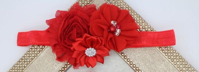 red baby girl headbands red wedding headband Red elastic headbands red Christmas headbands red flower headbands hair bows toddler girl