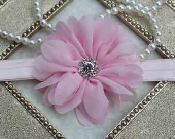 SALE headband, baby pink headband, light pink newborn headband, childrens photo prop, newborn photo prop, baby girls hairbows pink