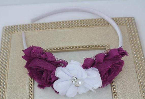 Plum headband plum flower girl headband plum and white  999653b246a
