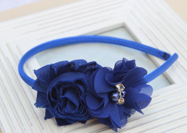 Royal blue headbands plastic headband royal blue flower girl  bcc373b1e0d