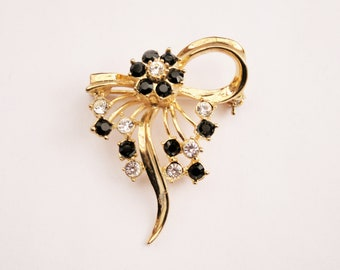 4a98f1c0c 1980's Abstract Vintage Bow Brooch, Gold Plated w/ Black & Clear Swarovski  Crystals, British Made