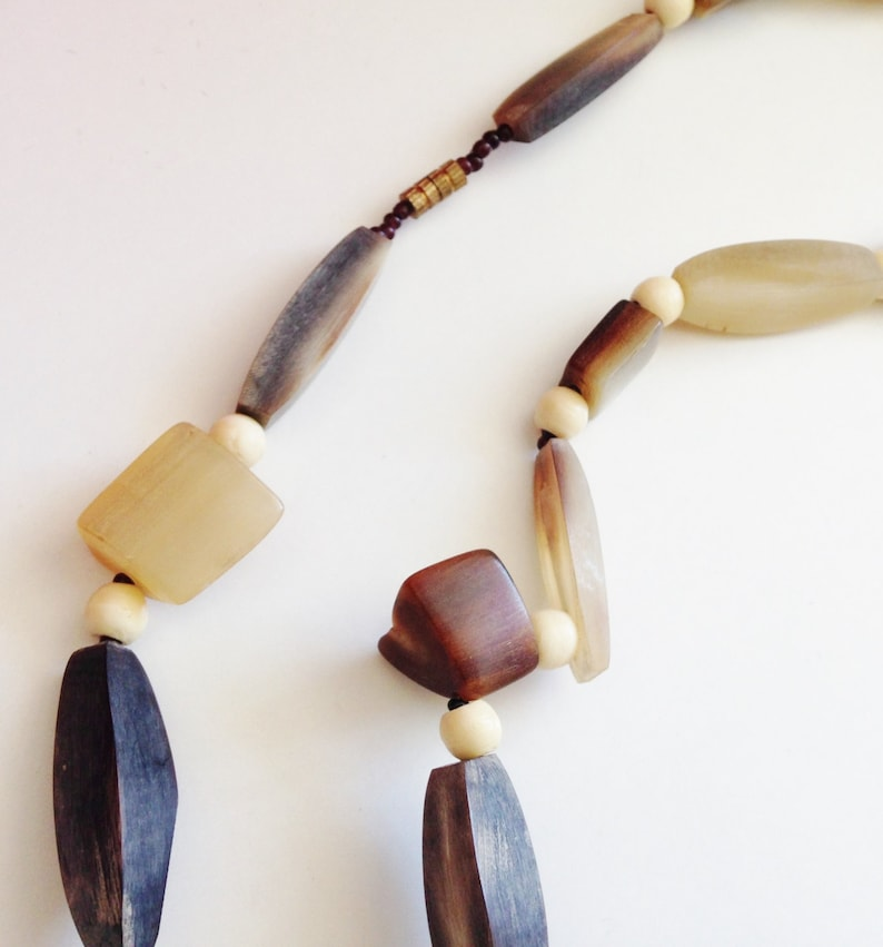 1960/'s Vintage Buffalo Horn Necklace  Organic Shaped Bead Necklace  Genuine Vintage Costume Jewellery  Ladies Jewelry