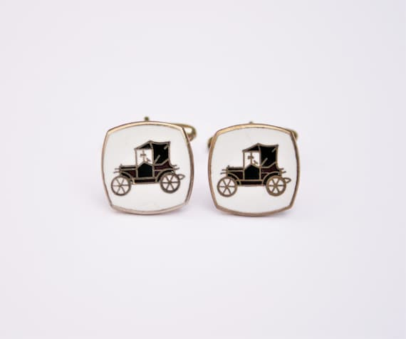 Mens Vintage Jewellery Signed M.P ENGLAND Old Fashioned Carriage Enameled Vintage Car Cufflinks