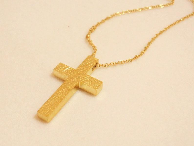 Gold Gross 14k, Gold Cross 18k, Modern Solid Cross, Baptism Gold Cross,  Gold Cross Pendant, Greece Cristening Gross, Handmade Greek Cross